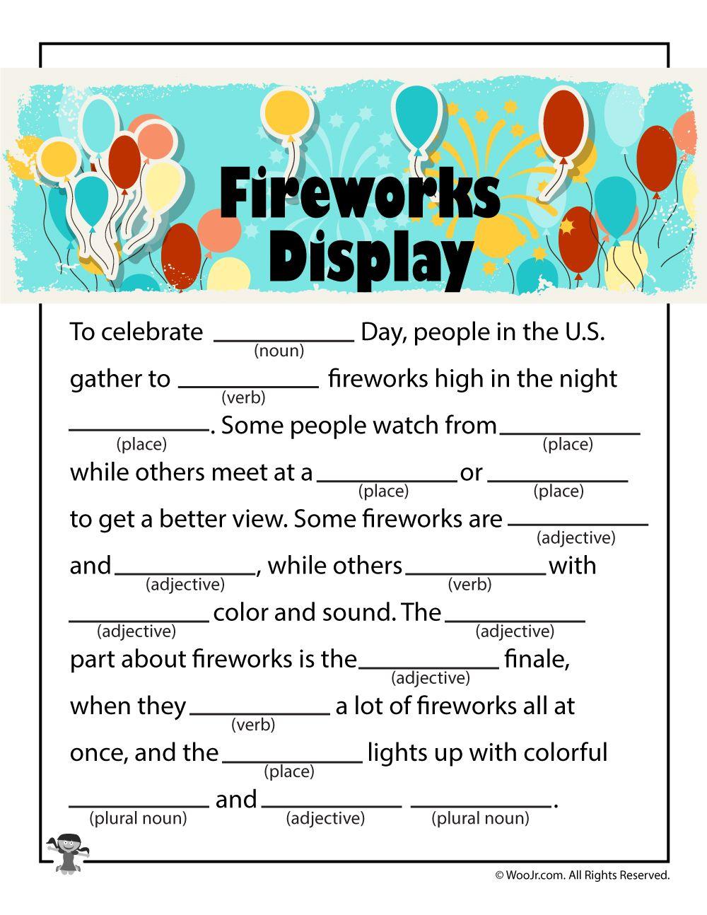 Fireworks Display 4th Of July Mad Libs Woo Jr Kids Activities 4th Of July Games 4th Of July Fourth Of July [ 1294 x 1000 Pixel ]
