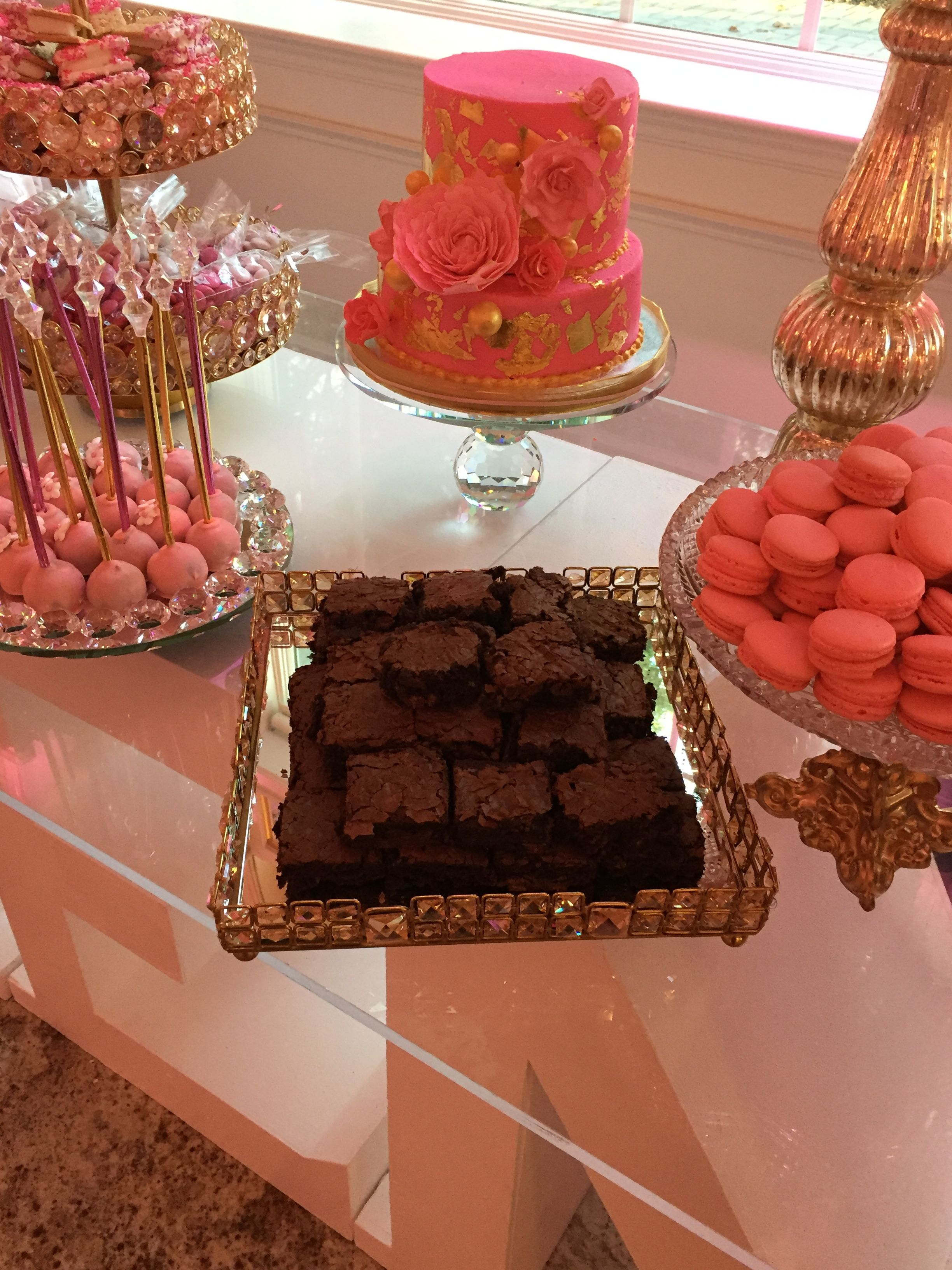Kennedy Super Sweet Sixteen Candy Table Buffet Dessert Table Pink Decor Pink Ombre Desserts Brownies Wedding Birthday Parties Sweet 16 Sweet Pink Ombre