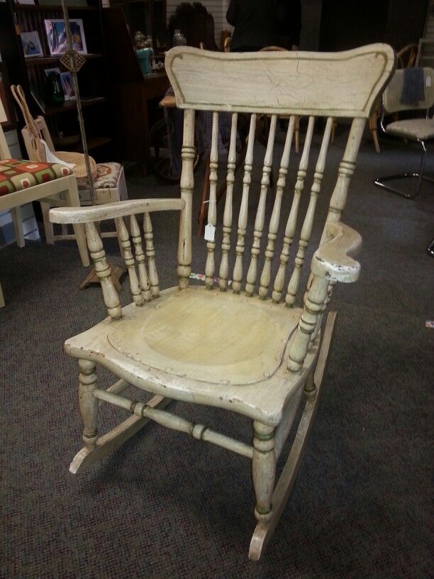 Large Painted And Aged Wooden Rocker, Great Detail, Sturdy