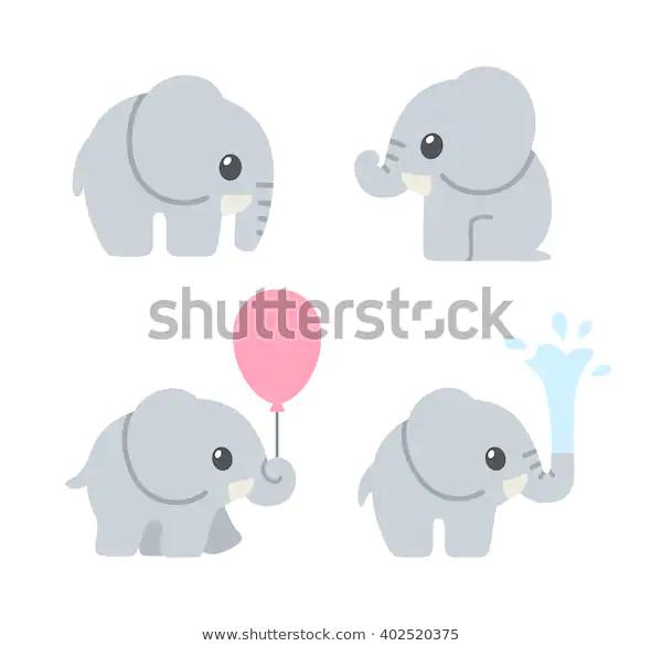 Cute Cartoon Baby Elephant Set Adorable Stock Vector Royalty Free 402520375 Elephant Illustration Cartoon Elephant Baby Cartoon