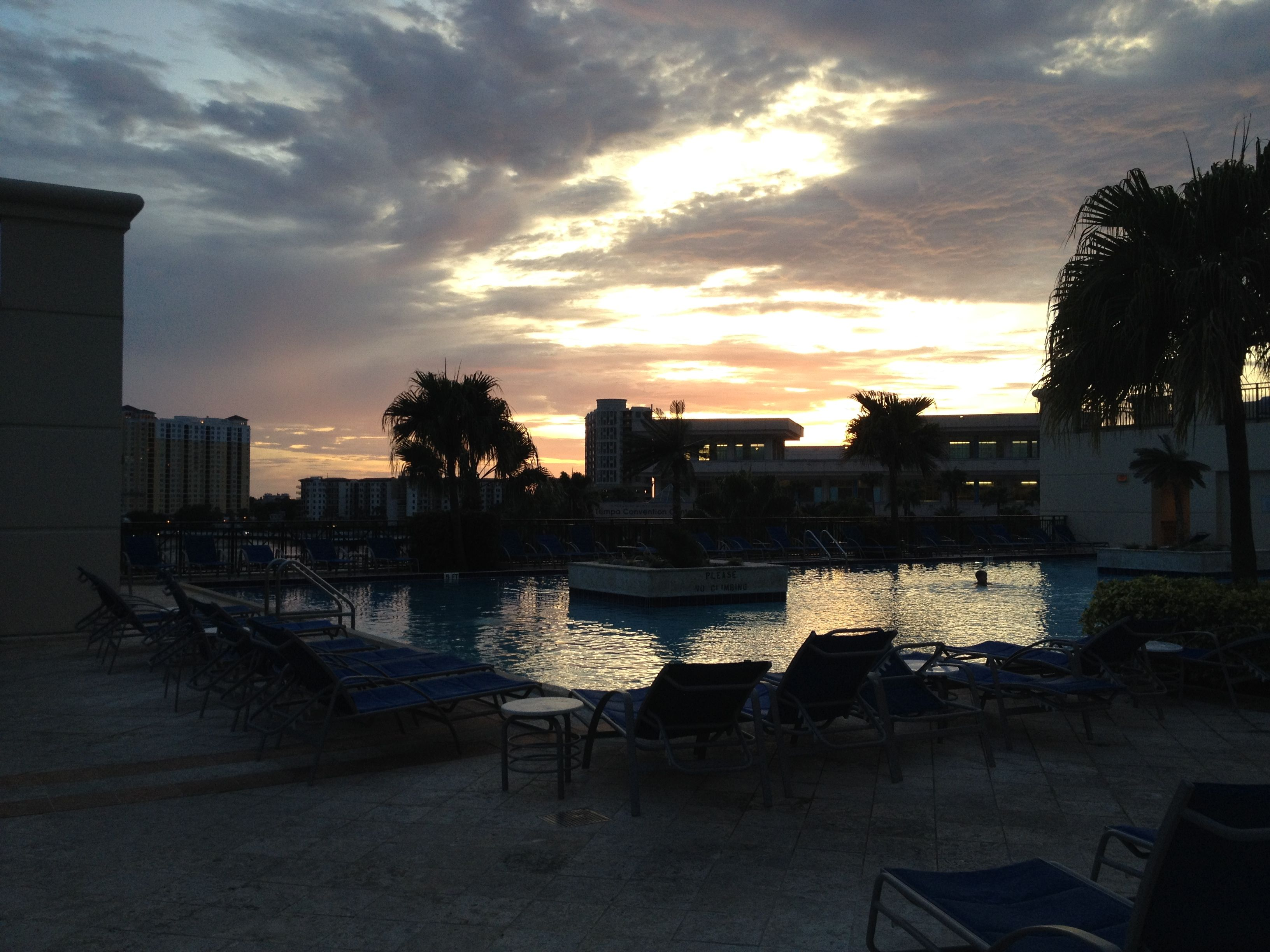 Tampa, Florida, 2014 - Sunset over the pool at the Marriott Waterside
