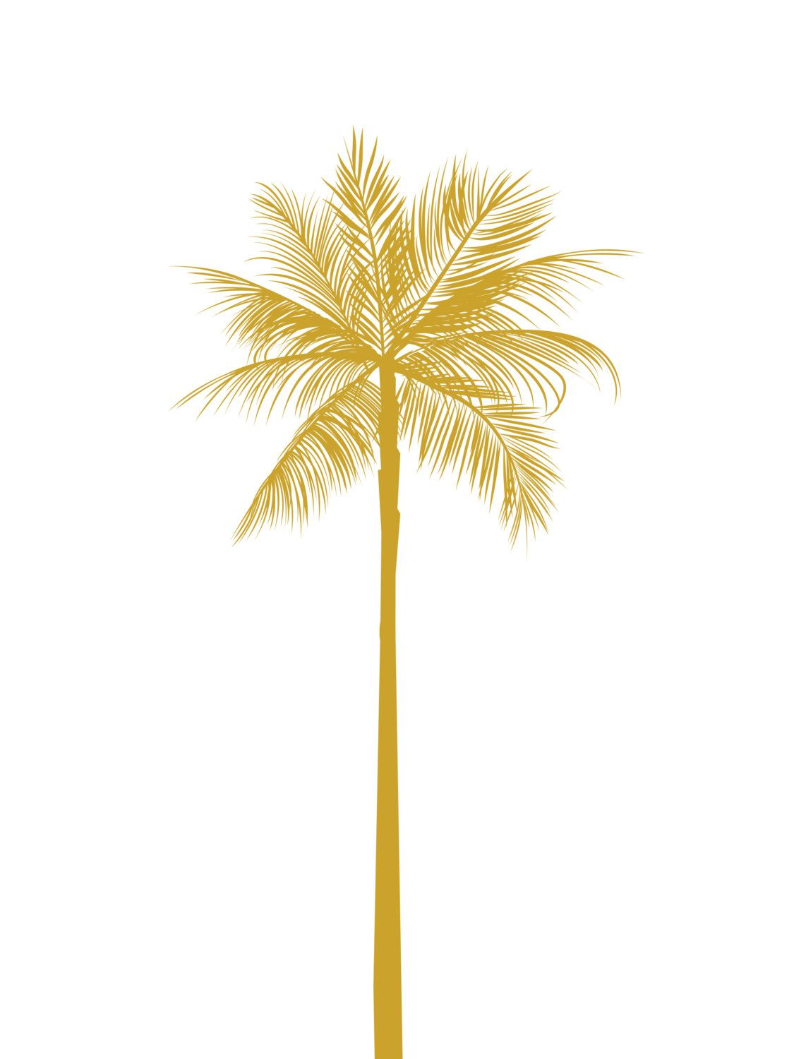 Gold Palm Tree Print, California Palm Tree, Mustard Yellow Palm Tree ...