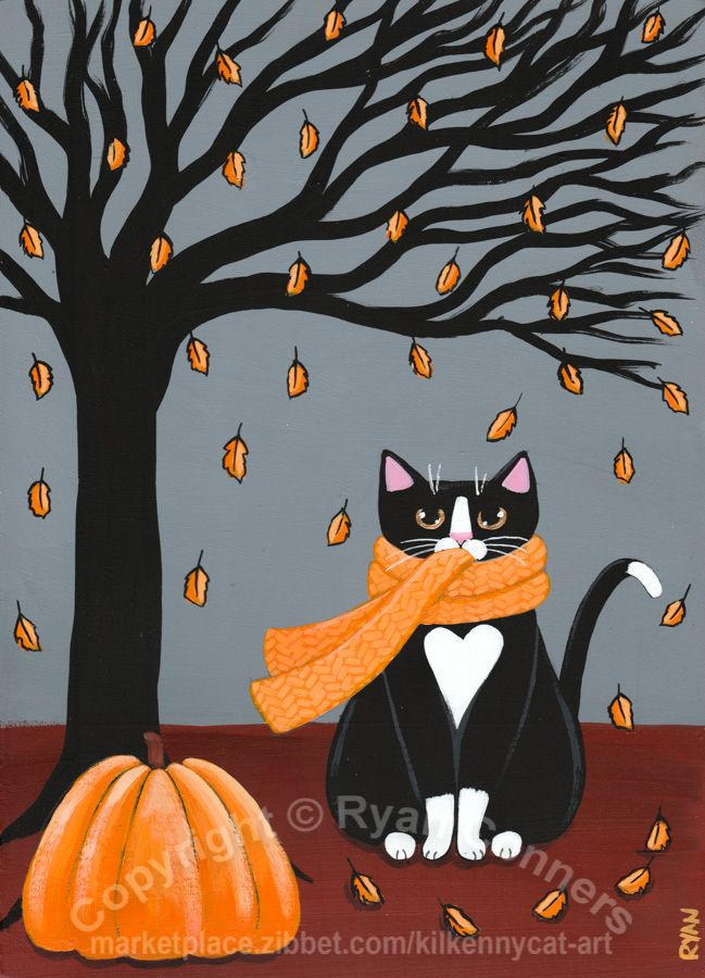Autumn Tuxedo Cat Original Cat Folk Art Painting