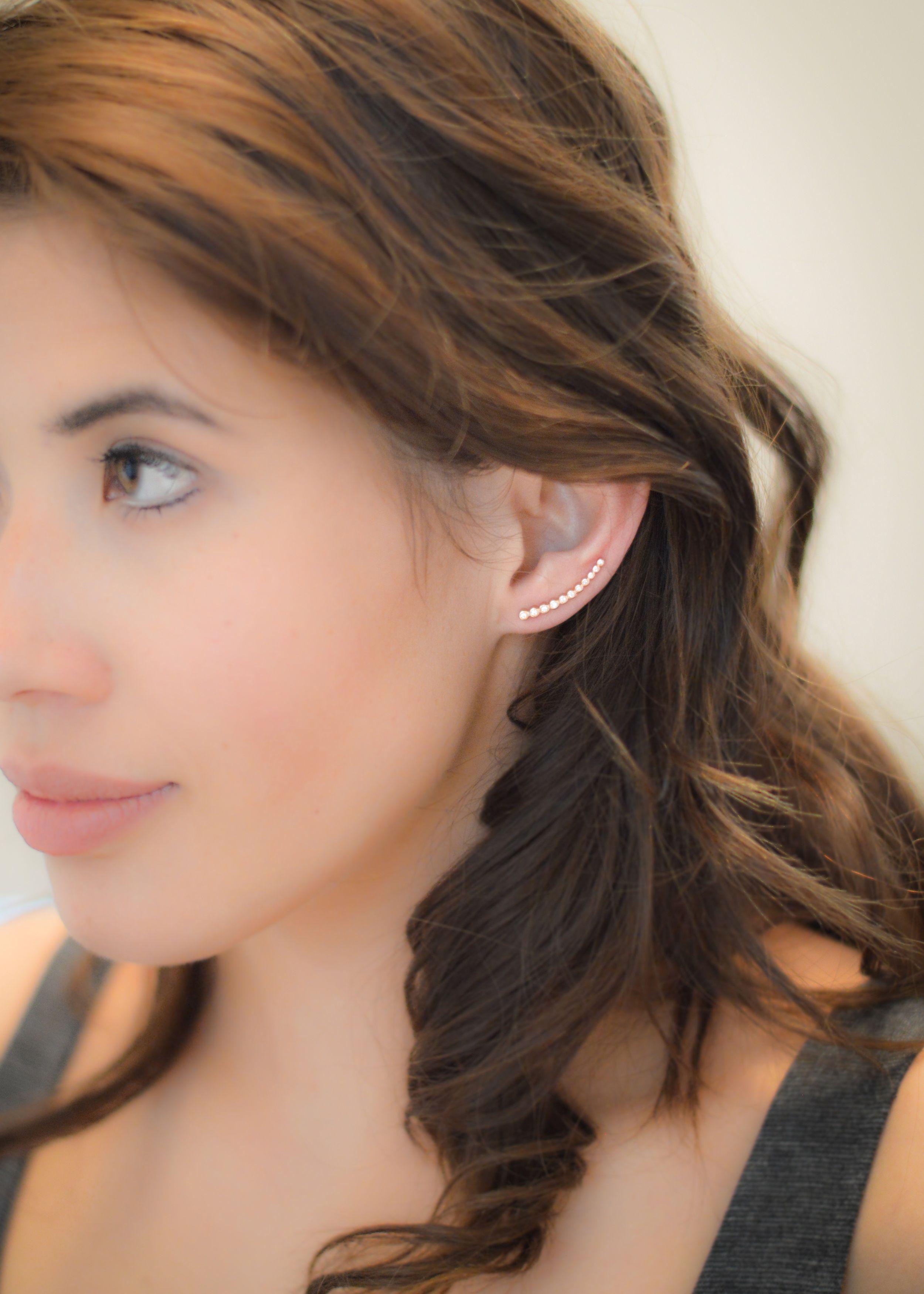 58392b8538c1e Leah Alexandra Astro Rose Gold Ear Climber | Leah Alexandra | Pearl ...