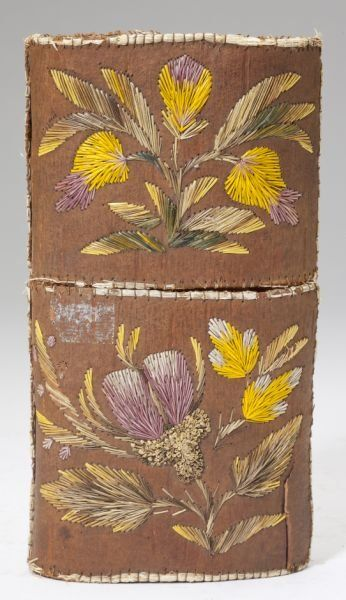 19th Century Micmac Indian Cigar Case colorful quilled floral designs over two-part birch bark form. 5.5 x 3 x 1 in.