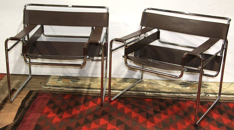 Iconic marcel bauer wassily chairs in chocolate leather