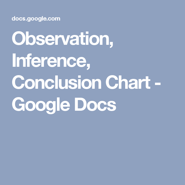 Observation Inference Conclusion Chart Google Docs A Simple But