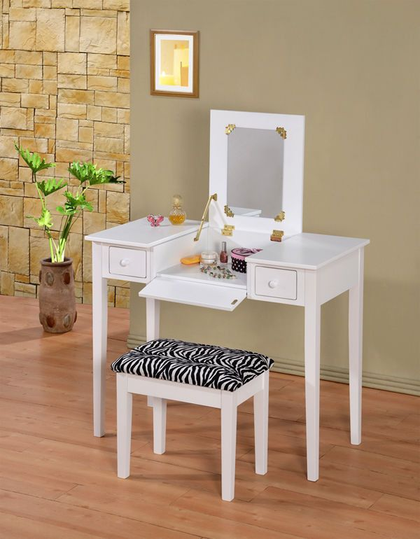 Wooden Makeup Vanity Table Set With Flip Mirror, Two Colors #Contemporary