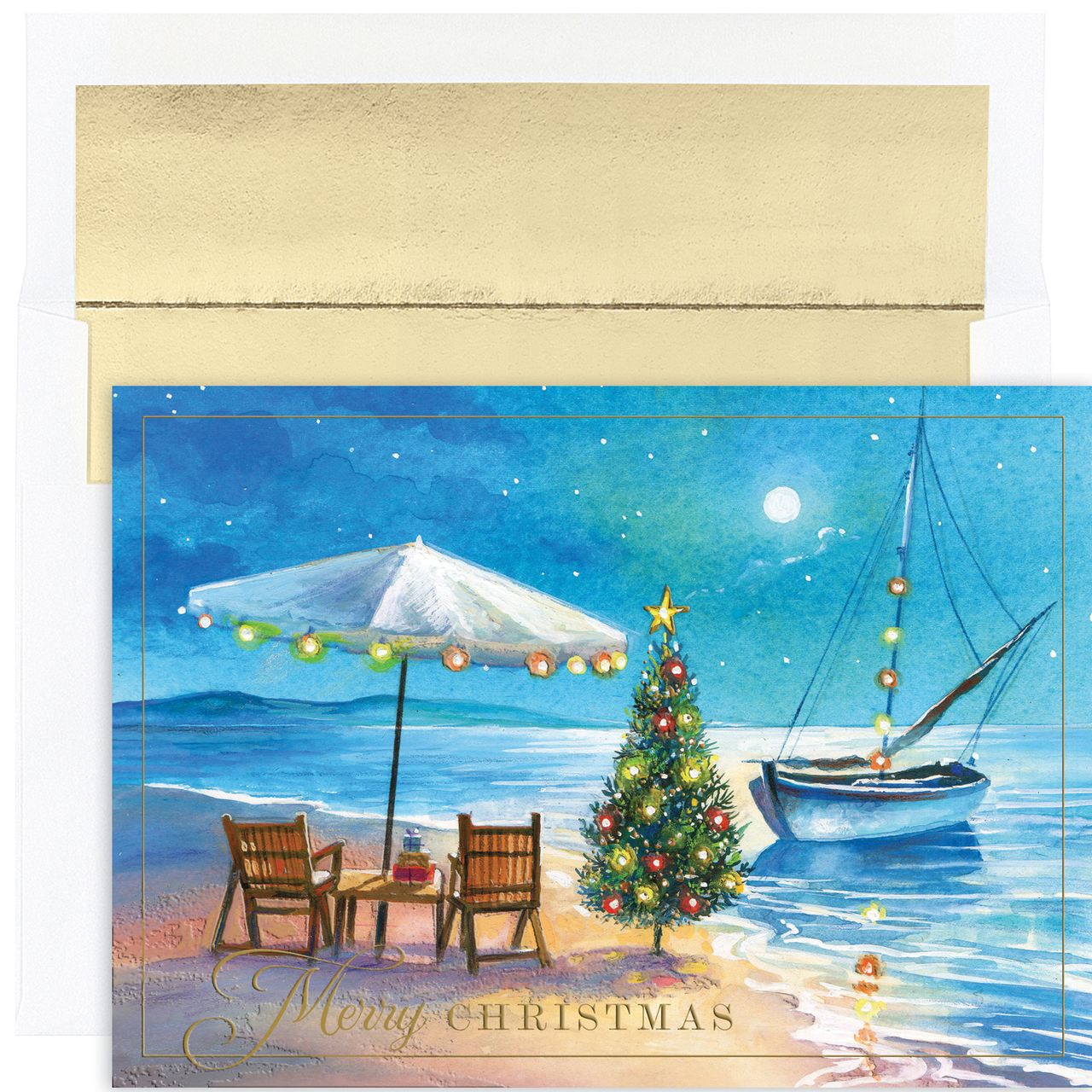 Shoreline greetings christmas card beach christmas cards beach masterpiece shoreline greetings set of 18 boxed greeting cards with envelopes holiday lane for the home macys kristyandbryce Gallery