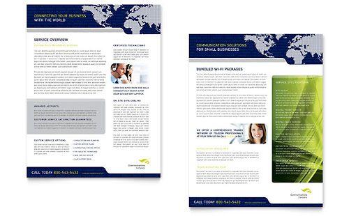 Global Communications Company Datasheet Template Design
