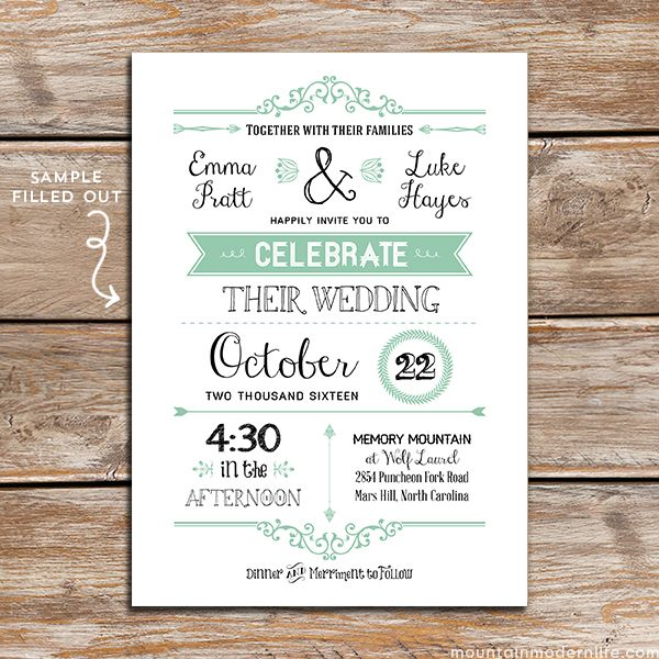FREE Printable Wedding Invitation Template Diy wedding invitations