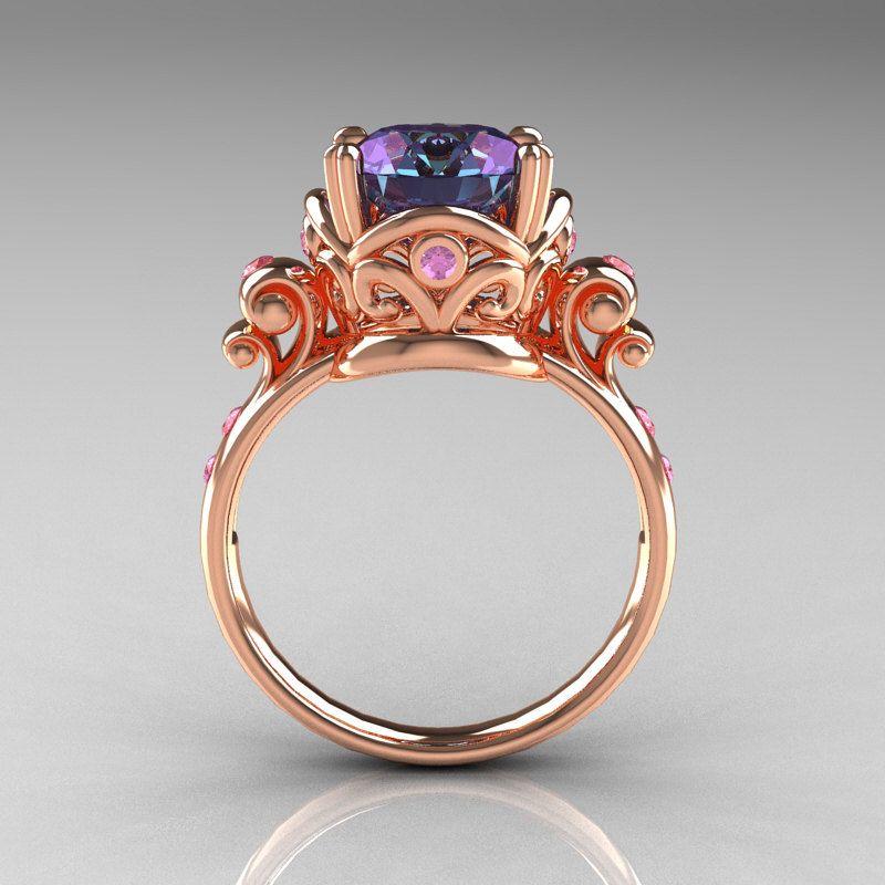 Alexandrite rose gold engagement ring
