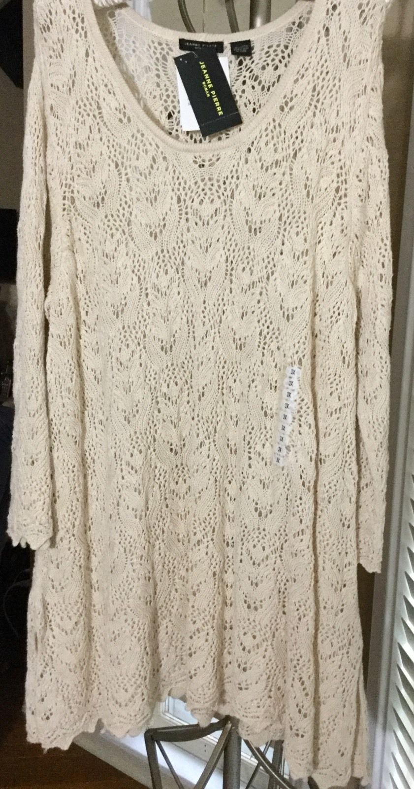 NEW $69 3X Plus Size Beige Lace Knit Cotton Tunic Long Sleeve ...
