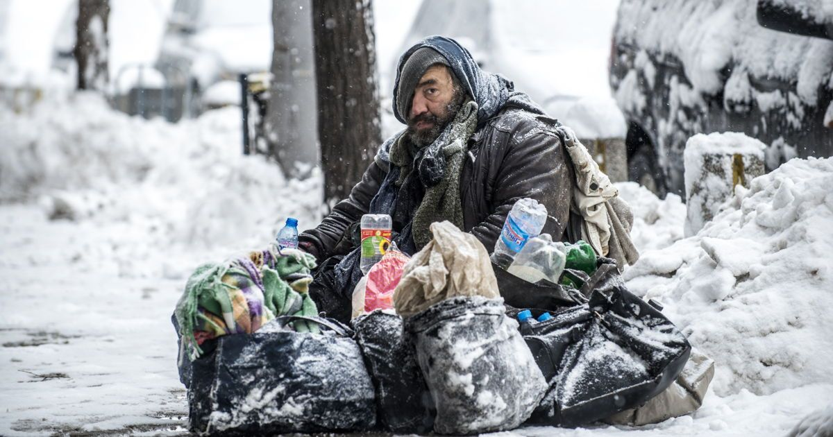 Image result for homeless people in the winter pics
