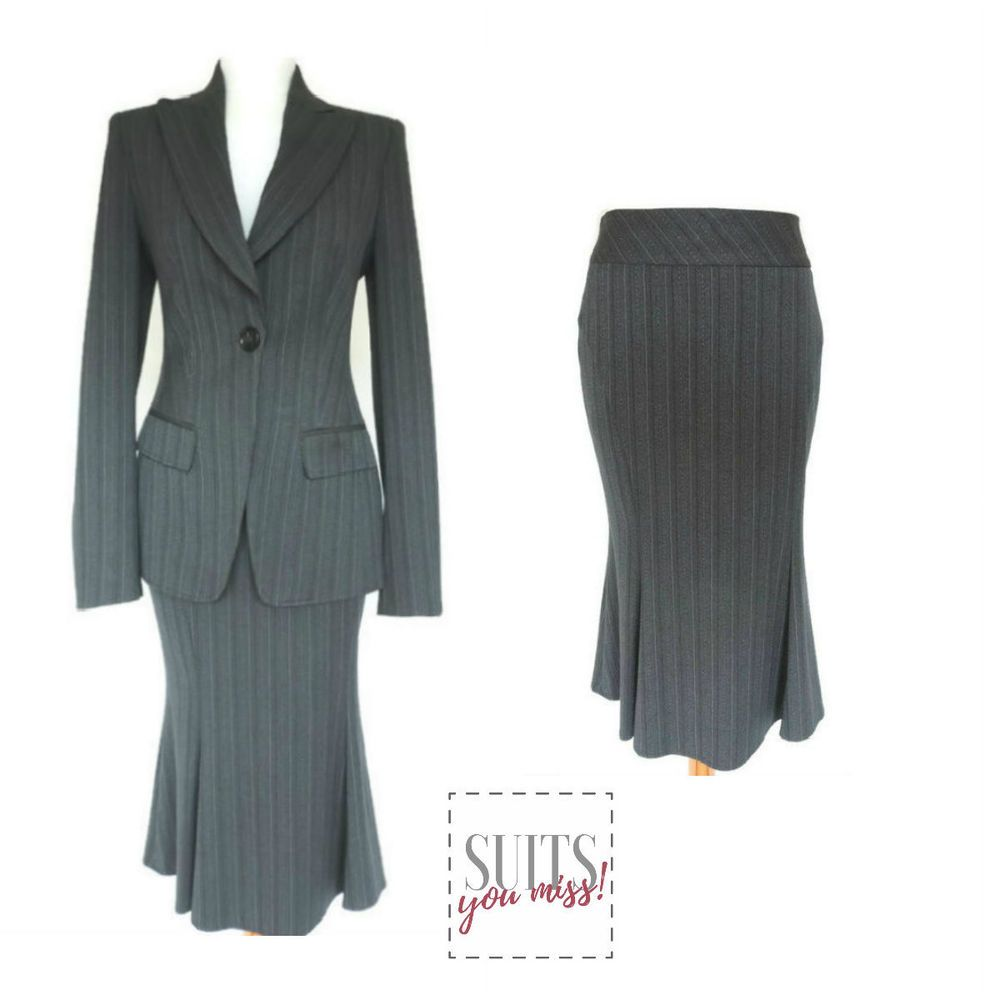 Next Ladies Womens Skirt Suit Uk 10 Grey Pinstripe Fitted Jacket
