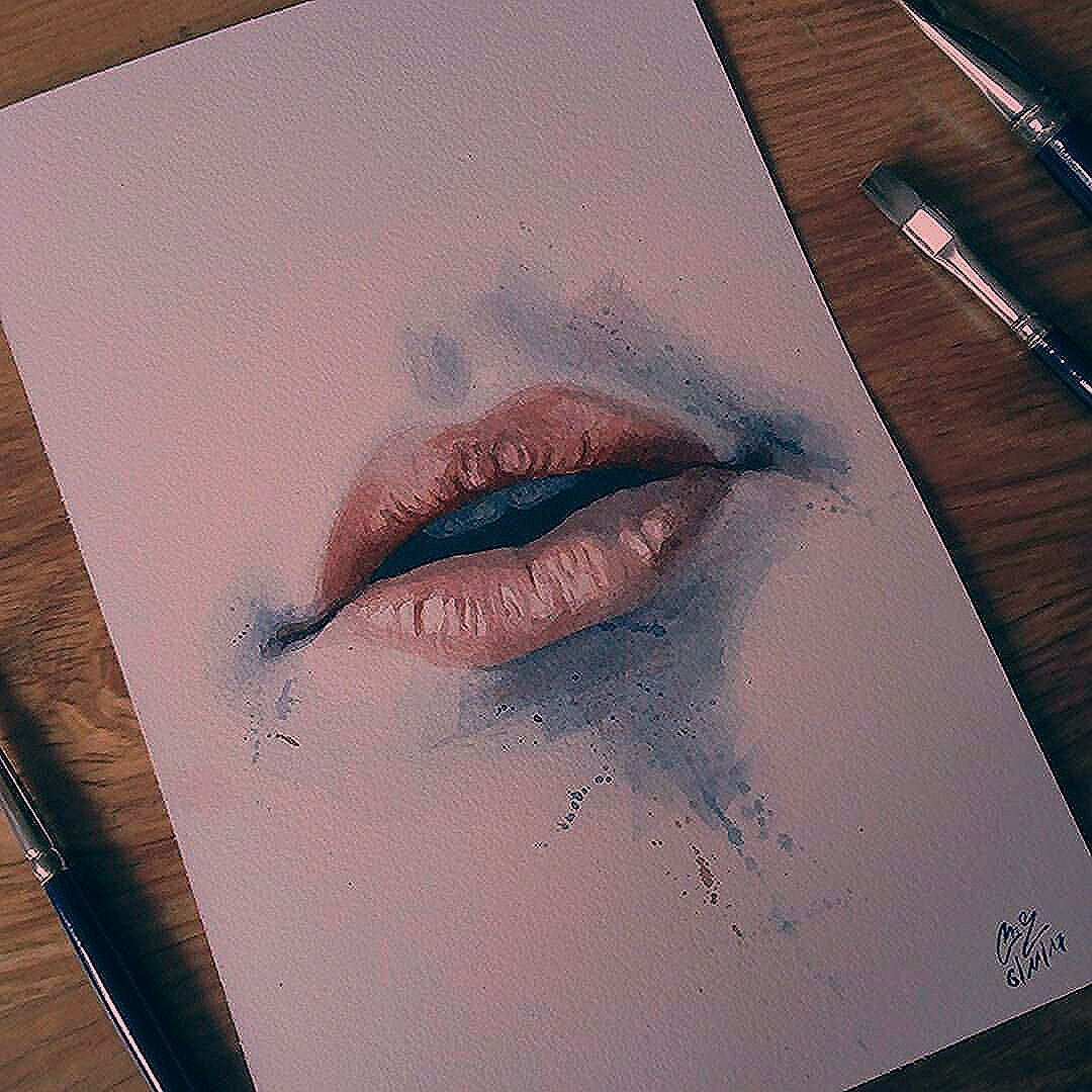 Lips watercolor study