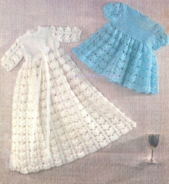 Baby 3 Ply Christening Robe Dress Gown And Short Dresses Etsy Crochet Baby Dress Pattern Crochet Baby Dress Vintage Baby Dresses