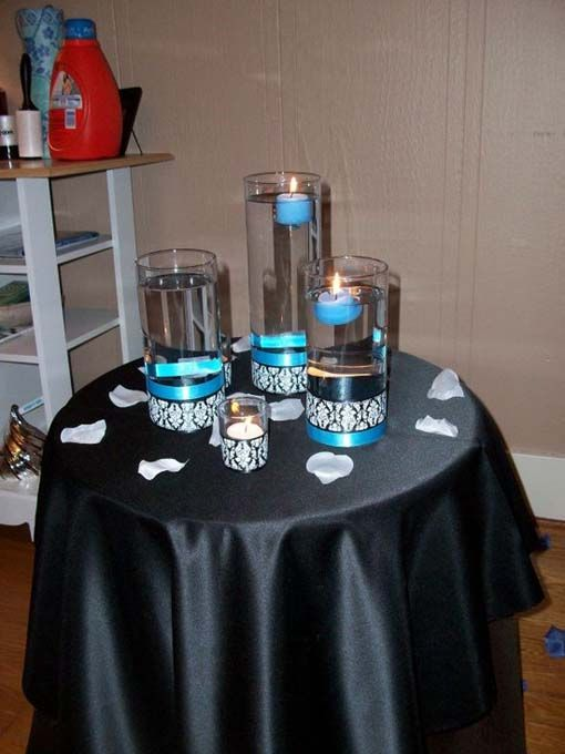 Decorations Tips Wedding Black Blue Diy Reception White And Centerpieces Ideas