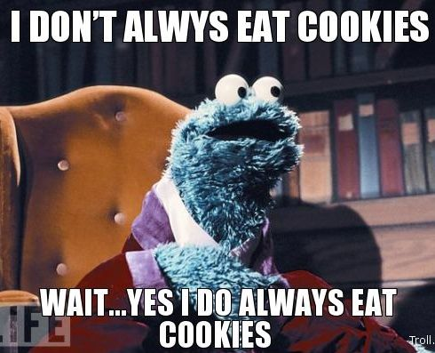 90f84090887c9f90a7a77a44f67b49e6 i don't always eat cookies but when i do i eat them all in one