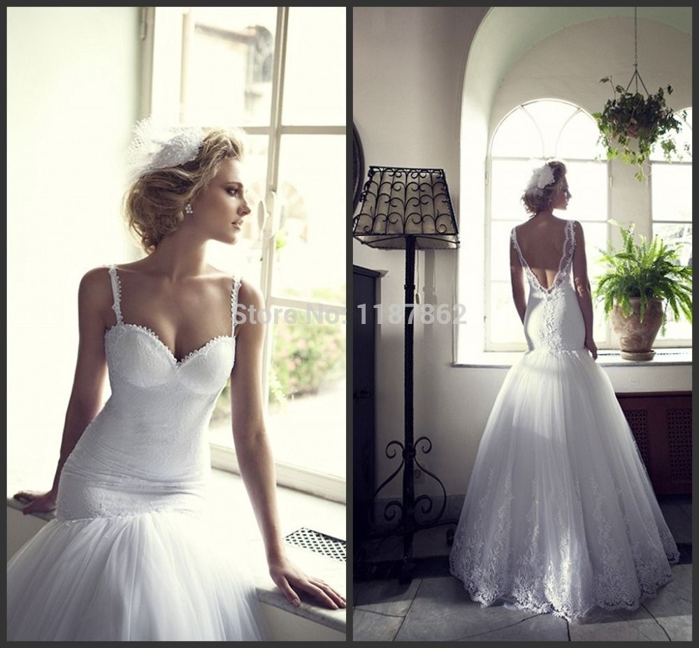 Lace wedding dress open back mermaid  Find More Wedding Dresses Information about WD  Free Shipping