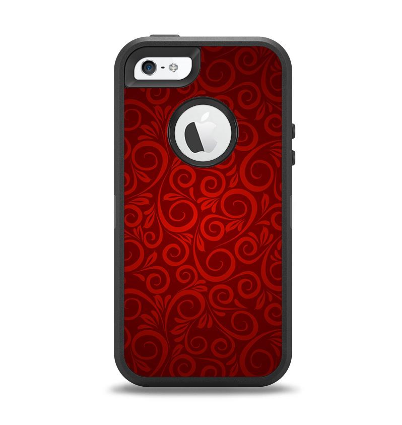 The Dark Red Spiral Pattern V23 Apple iPhone 5-5s Otterbox Defender Case Skin Set