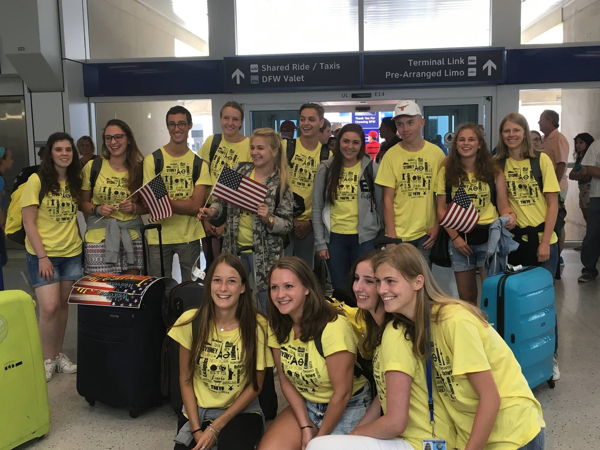 A group of exchange students who just arrived at DFW airport and are being  met by their host paren… | Texas high school, International high school,  Exchange student