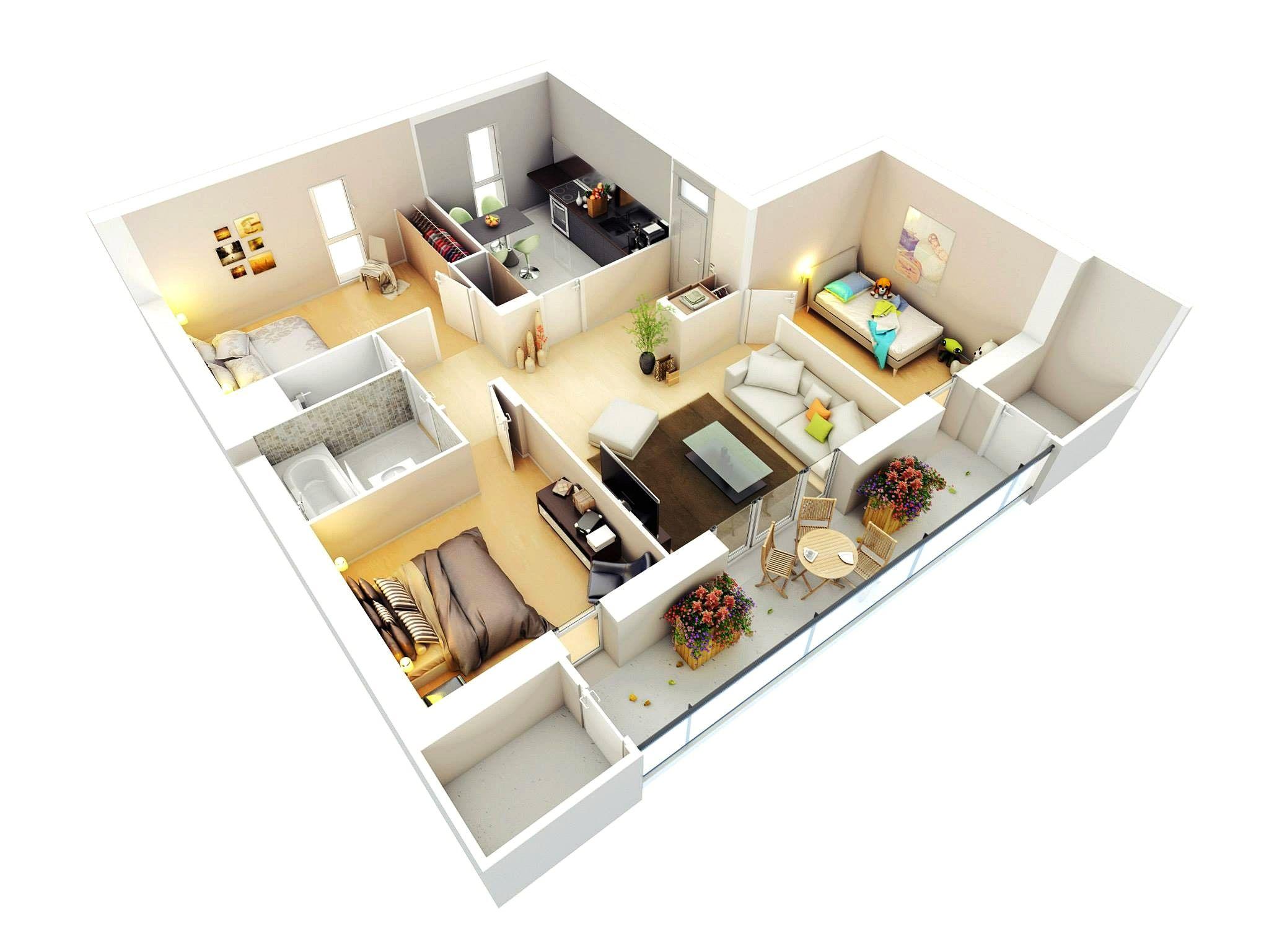 Denah Rumah Sederhana 3 Kamar Tidur Type 36 3d 3dimensi Desain