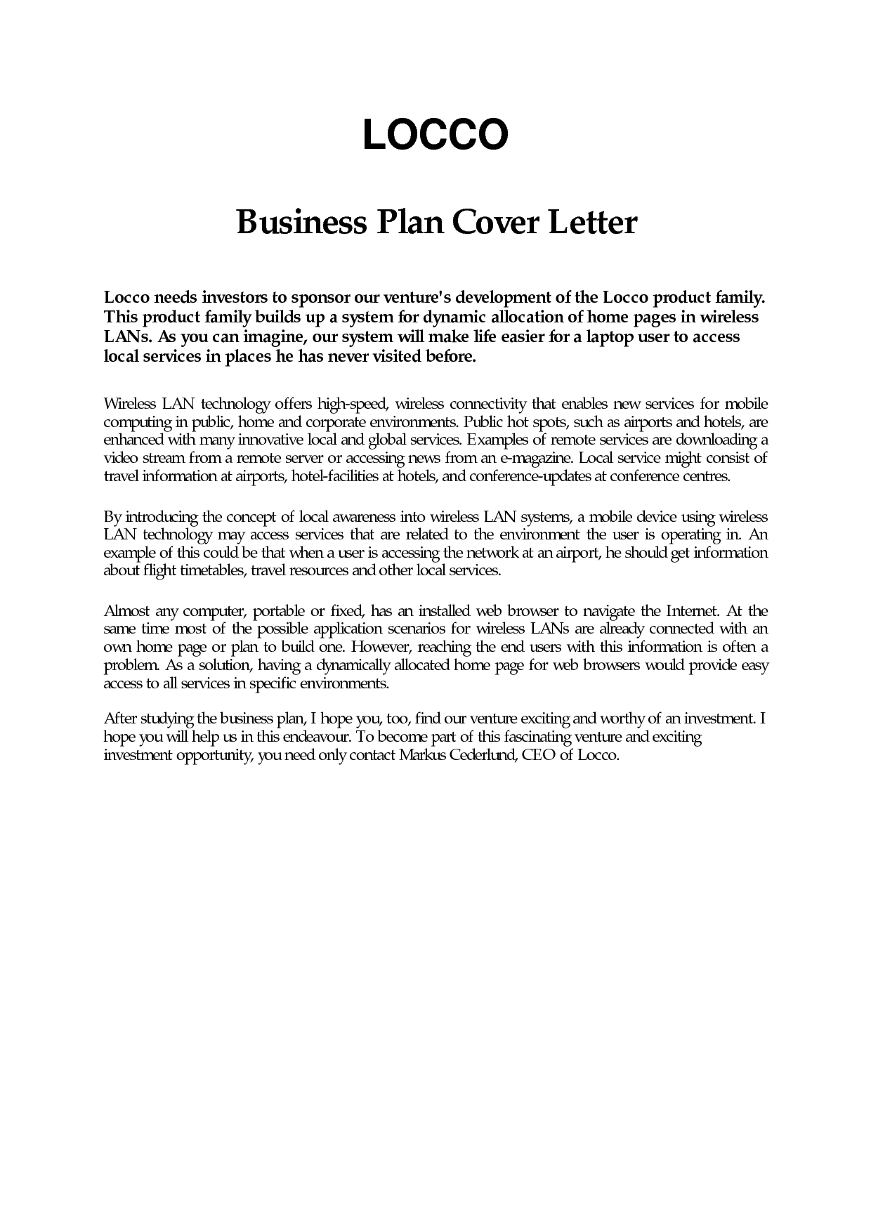 Business Plan Cover Letter Sample Free Career Center Bauer
