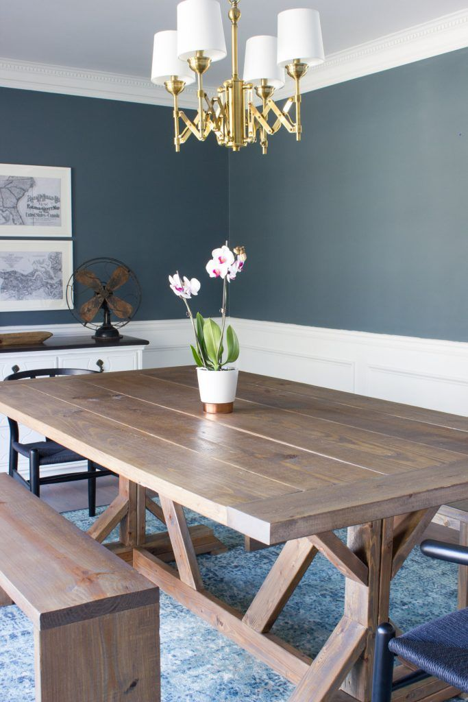 Very Beautiful And Practical Narrow Dining Table Iu0027m in love with this DIY modern farmhouse dining table and benches! Plus  she created a custom stain. So pretty!