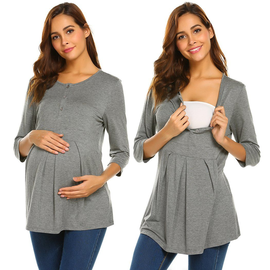 0499553fabd2c Maternity Outfits - cool maternity dresses   Ekouaer Womens Empire Waist  Babydoll Maternity Nursing Top Gray M -- Discover more regarding the great  product ...