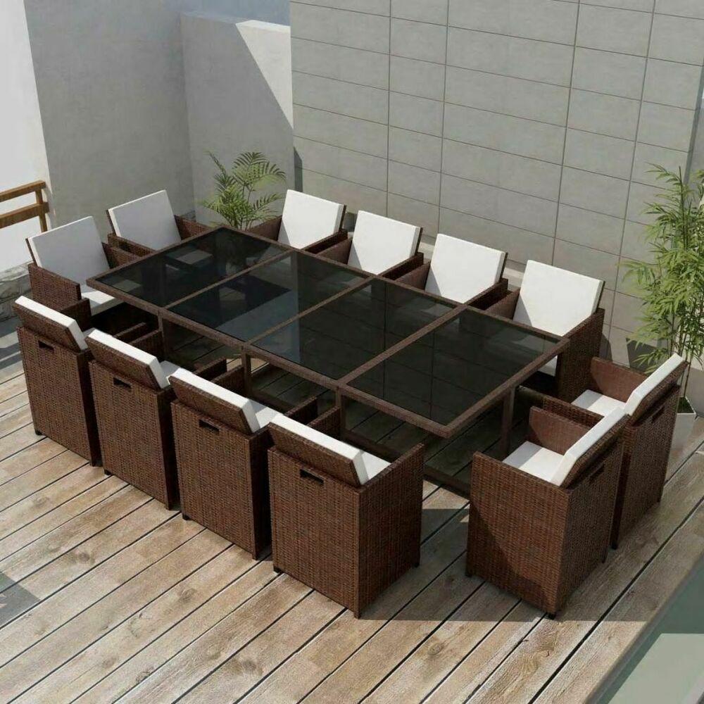 vidaxl ensemble de mobilier poly rotin 37 pcs marron salon. Black Bedroom Furniture Sets. Home Design Ideas