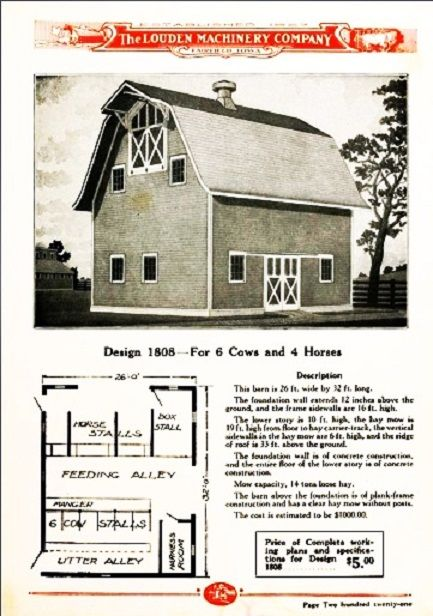 Vintage small gambrel roof barn floor plan from the louden for Carriage barn plans