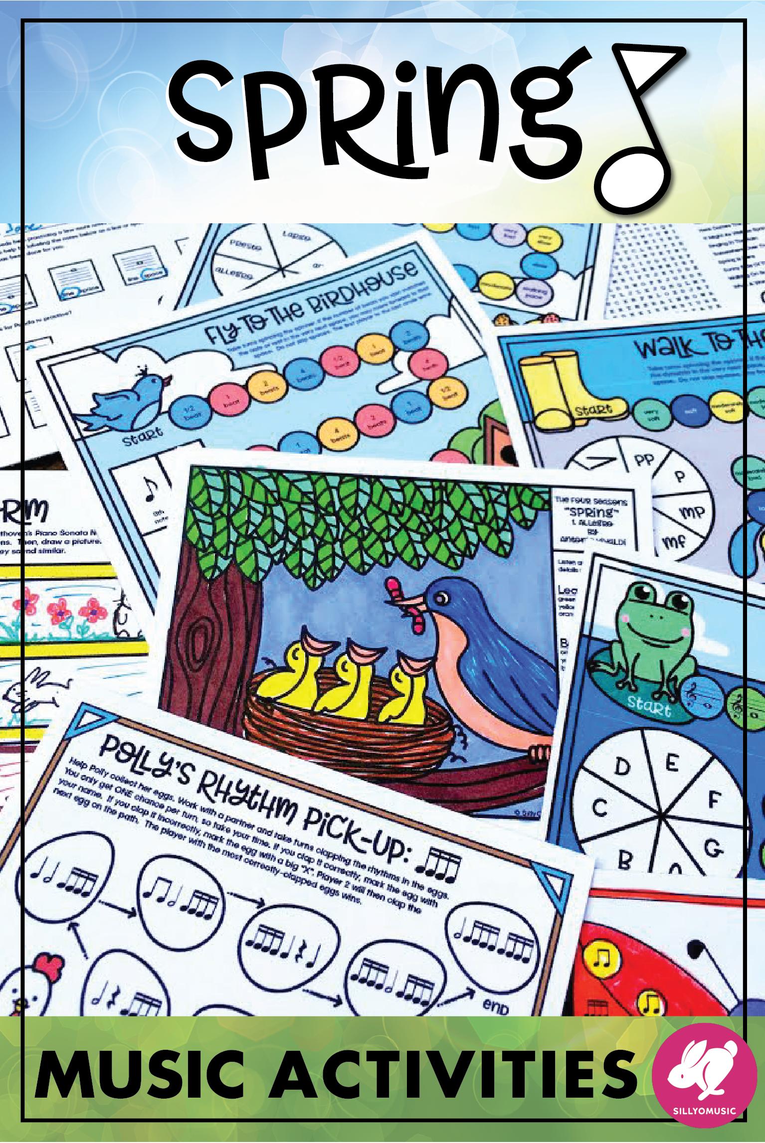 Spring Music Worksheets Board Games Printables Amp Color