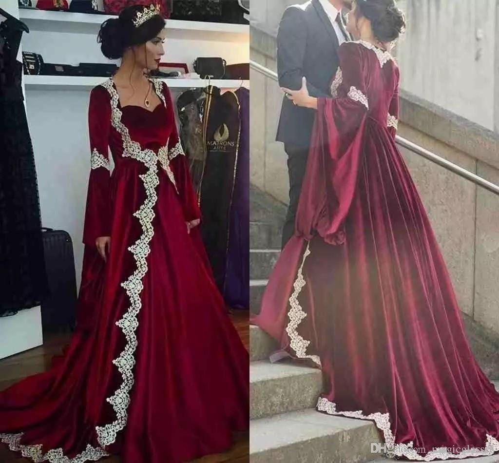 961879d5af 2018 Dark Red Evening Dress With Long Sleeves Middle East Design ...