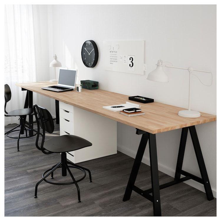 GERTON Table - Beech, Black White