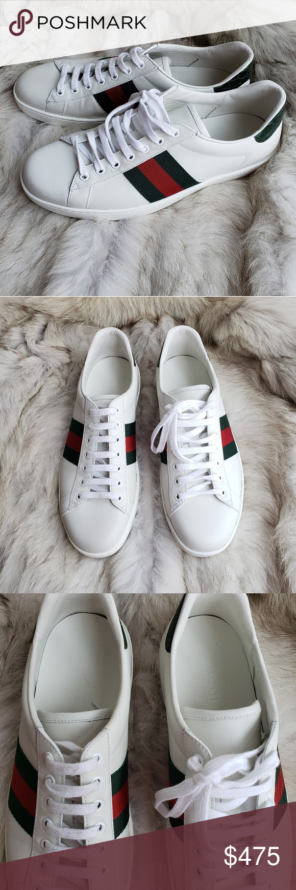 66ea1cc0e Gucci Ace Stripe White Leather Sneaker 8.5 9.5 These are in excellent used  condition. No box or bag. Guaranteed authentic. These are an 8.5 in gucci  sizing ...