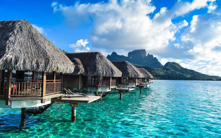 تحميل خلفيات بورا بورا بولينيزيا الفرنسية المحيط الهادئ الفنادق بقية الشواطئ الجنة جزيرة استوائية Tahiti Vacations Water Bungalow Bora Bora