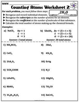 Worksheet: Counting Atoms Version B | Grades 6-8: Ideas ...