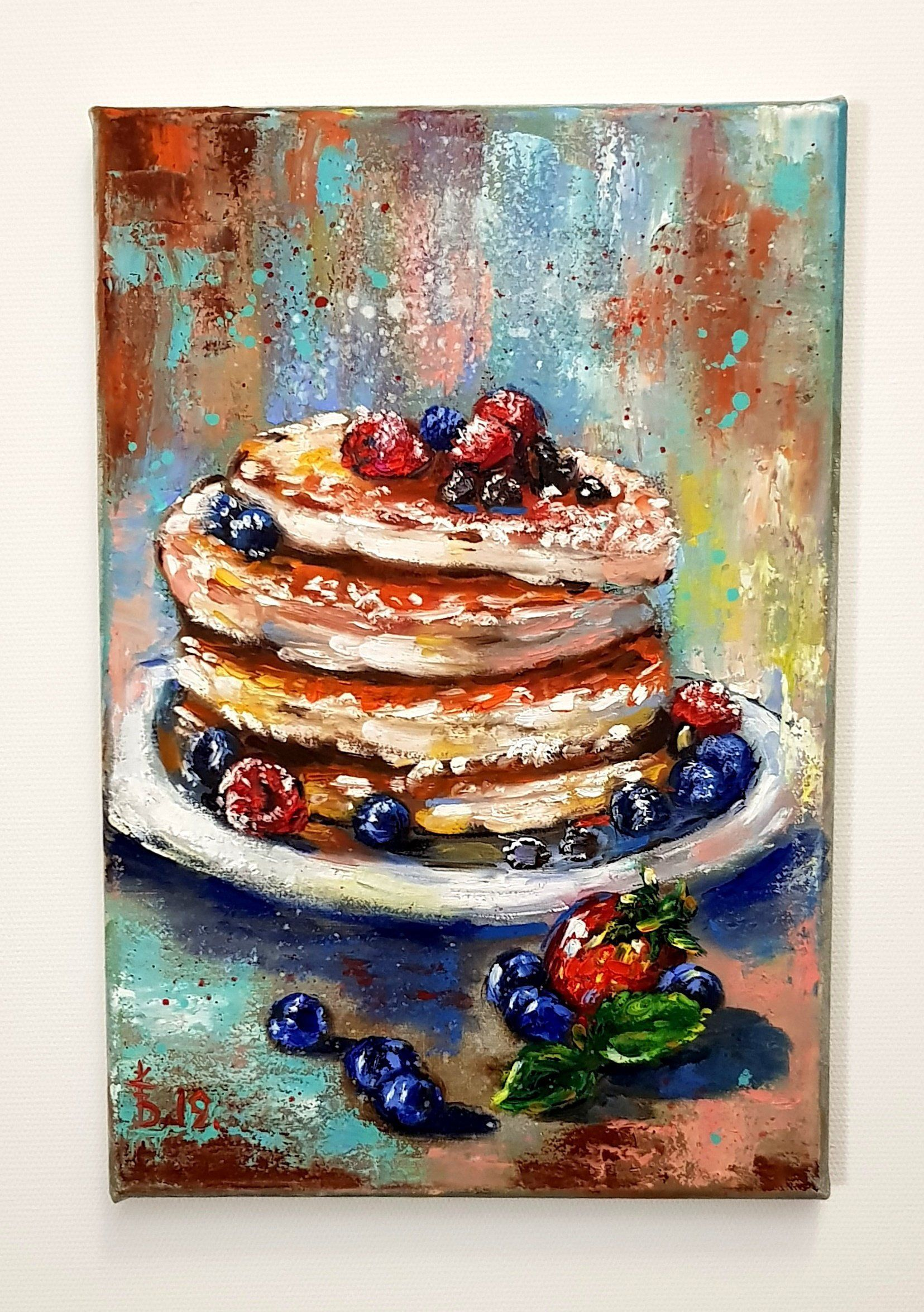 Best Place To Buy Wall Art.Pancakes Berries Original Painting Food Painting Delicious