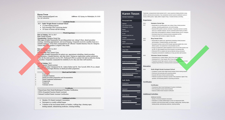 Dental assistant resume sample template skills