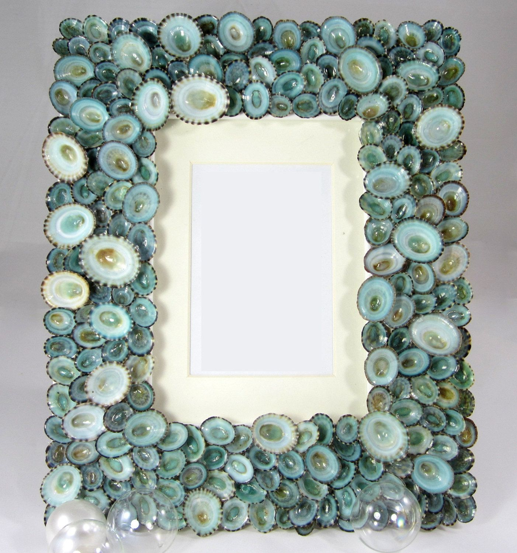 Beach Decor Seashell Frames - Nautical Shell Frame of Aqua Limpets ...