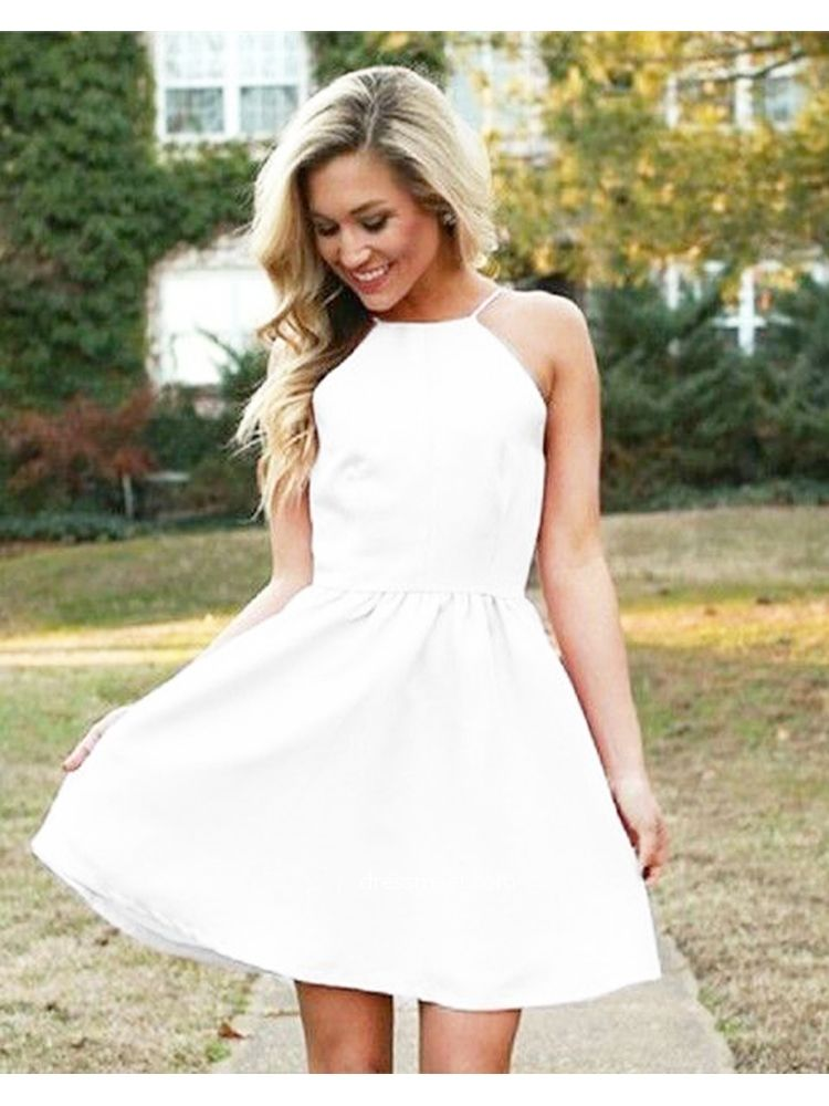 59b8395fa Simple A Line Square Neck White Dress,Backless White Short Homecoming  Dresses