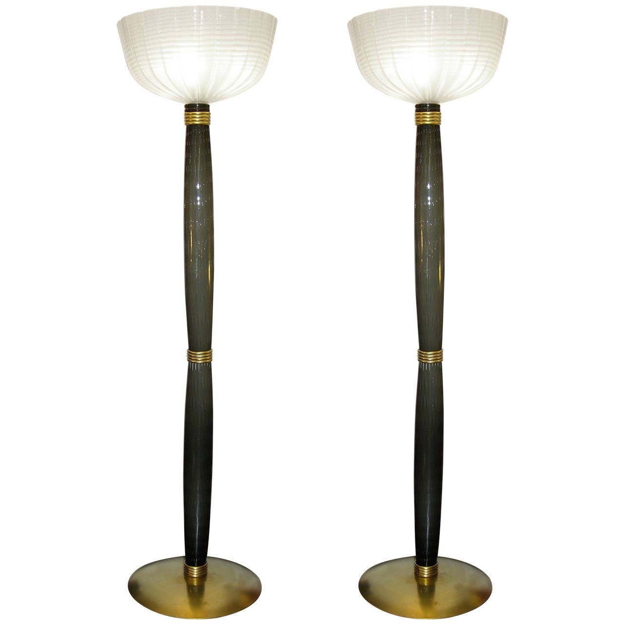 Extremely Rare Pair of Barovier e Toso Olive Grey Murano Glass Floor Lamps   From a unique collection of antique and modern floor lamps at https://www.1stdibs.com/furniture/lighting/floor-lamps/