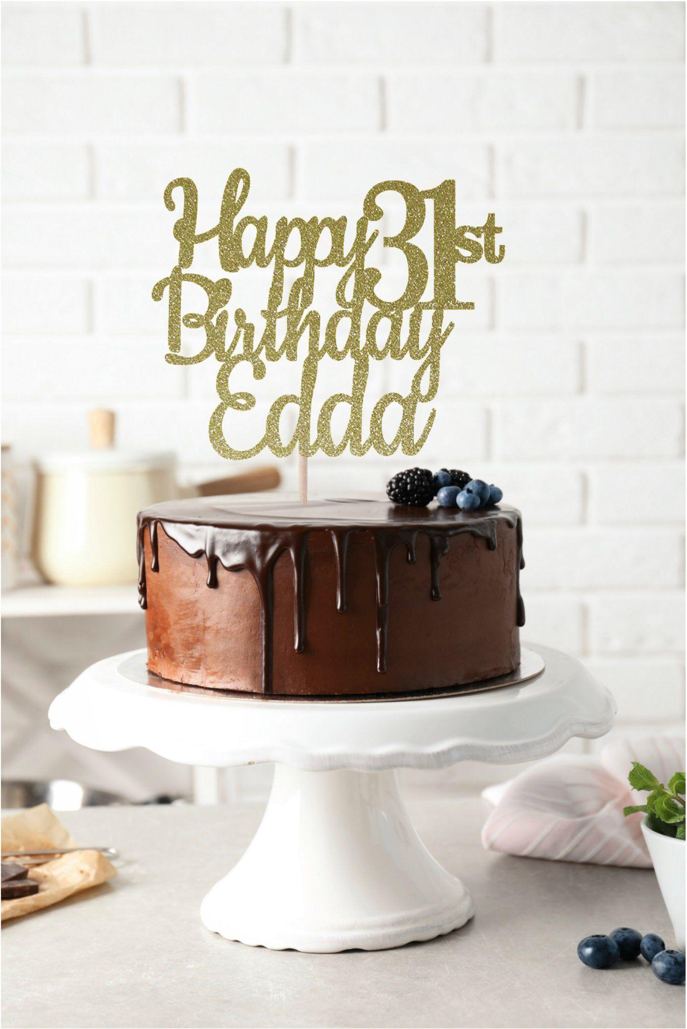 Any Name Happy 31st Birthday Cake Topper 31st Birthday Birthday