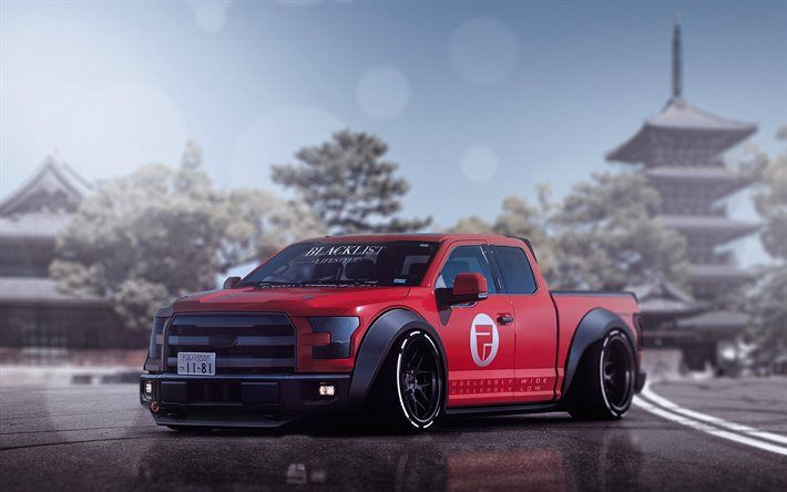 Ford F-150 Raptor, tuning, 2017 cars, low rider, SUVs, red F-150, pickups, Ford
