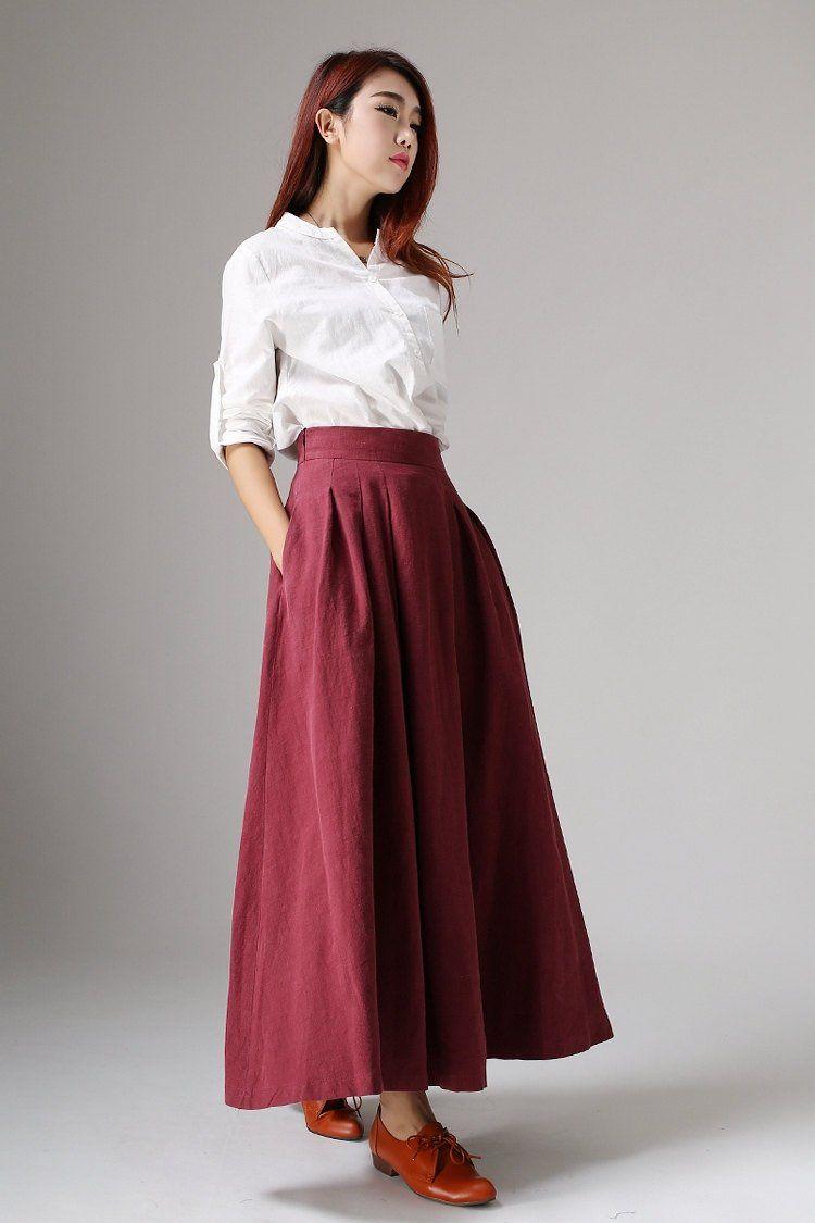 100/%  Linen Women Skirt in Two Colors