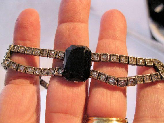 1920s Art Deco Sterling Onyx Crystal Choker by BrightEyesTreasures