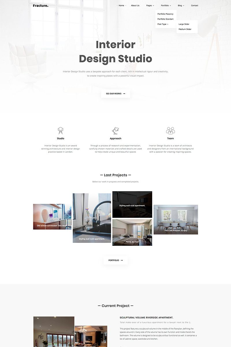 Fracture | Architecture and Interior Design Responsive Website Template #67931