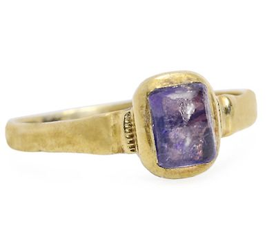 Late Medieval Sapphire Ring, 14k gold with rubbed over bezel and closed back. Circa 14th-15th century
