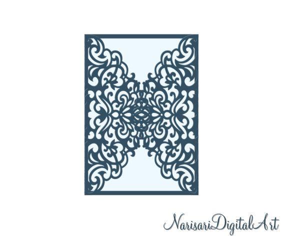 Ornamental X GateFold Wedding Invitation Card Template